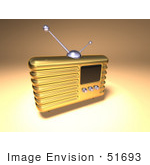 #51693 Royalty-Free (Rf) Illustration Of A 3d Gold Retro Radio - Version 3