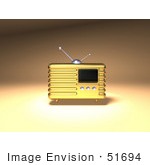 #51694 Royalty-Free (Rf) Illustration Of A 3d Gold Retro Radio - Version 1