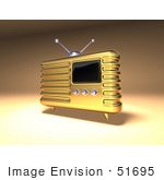 #51695 Royalty-Free (Rf) Illustration Of A 3d Gold Retro Radio - Version 2