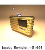 #51696 Royalty-Free (Rf) Illustration Of A 3d Gold Retro Radio - Version 4