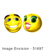 #51697 Royalty-Free (Rf) Illustration Of Two Flirting 3d Smiley Faces