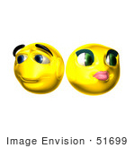 #51699 Royalty-Free (RF) Illustration Of Two Shy 3d Smiley Faces by Julos