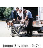 #5174 Pictur Of Emergency Medical Technicians (Emt'S) Putting A Patient Into An Ambulance