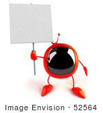 #52564 Royalty-Free (Rf) Illustration Of A 3d Red Television Mascot Holding Up A Blank Sign - Version 2