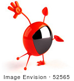 #52565 Royalty-Free (Rf) Illustration Of A 3d Red Television Mascot Doing A Cartwheel - Version 2