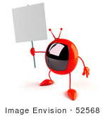 #52568 Royalty-Free (Rf) Illustration Of A 3d Red Television Mascot Holding Up A Blank Sign - Version 1