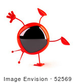 #52569 Royalty-Free (Rf) Illustration Of A 3d Red Television Mascot Doing A Cartwheel - Version 1