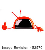 #52570 Royalty-Free (Rf) Illustration Of A 3d Red Television Mascot Giving The Thumbs Up And Standing Behind A Blank Sign