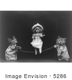 #5286 Cats Playing Jump Rope With Doll