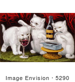#5290 White Cats Drinking Wine