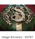 #53787 Royalty-Free Stock Photo Of A Golden Oriental Dragon Design