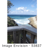 #53837 Royalty-Free Stock Photo Of A Balcony Rail Over A Beach