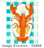#53868 Royalty-Free Stock Clipart Of A Lobster On A Plate