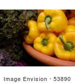 #53890 Royalty-Free Stock Photo Of A Bowl Of Yellow Peppers