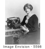 #5598 Woman With Underwood Typewriter