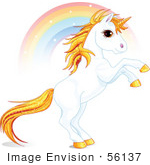 #56137 Royalty-Free (RF) Clip Art Of A White And Gold Unicorn Raring In Front Of A Rainbow by pushkin
