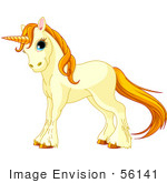 #56141 Royalty-Free (Rf) Clip Art Of A Beige Unicorn With Golden Hooves Hair And Horn