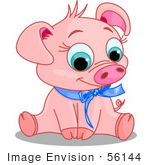 #56144 Clip Art Of An Adorable Pink Male Piggy Wearing A Blue Ribbon Sitting And Smiling