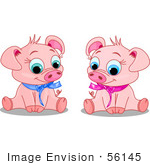 #56145 Clip Art Of Cute Male And Female Piggies Wearing Blue And Pink Ribbons Sitting And Smiling