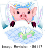 #56147 Clip Art Of An Adorable Pink Piggy Laying In Bed With A Thermometer And Tissues Sick With The Flu