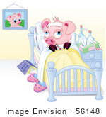 #56148 Royalty-Free (Rf) Clip Art Of A Sick Piggy Resting In Bed