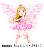 #56149 Clip Art Of A Happy Dancing Caucasian Ballerina Fairy Princess In Pink