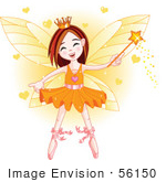 #56150 Royalty-Free (Rf) Clip Art Of A Fairy Girl In An Orange Tutu Surrounded By Hearts