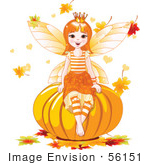 #56151 Royalty-Free (Rf) Clipart Illustration Of An Autumn Fairy Sitting On A Pumpkin Surrounded By Falling Leaves