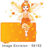 #56152 Royalty-Free (Rf) Clip Art Of A Happy Autumn Fairy Princess Sitting On A Blank Orange Sign With Leaves And Hearts