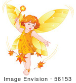 #56153 Royalty-Free (Rf) Clipart Illustration Of An Autumn Fairy Child Stirring Up Leaves In A Breeze