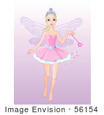 #56154 Clip Art Of A Pretty Fairy Princess Flying With A Magic Wand On A Gradient Purple Background