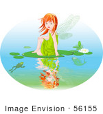 #56155 Clip Art Of A Red Haired Fairy Girl Sitting On A Lily Pad On A Pond