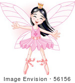 #56156 Clip Art Of A Happy Asian Ballerina Fairy Princess Dancing