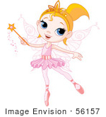 #56157 Royalty-Free (Rf) Clip Art Of A Pretty Blond Ballerina Fairy Girl Using A Magic Wand