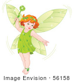 #56158 Royalty-Free (RF) Clip Art Of A Red Haired Baby Fairy In Green, Holding A Magic Wand by pushkin