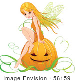 #56159 Royalty-Free (Rf) Clip Art Of A Pretty Autumn Fairy Sitting On A Halloween Pumpkin