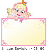 #56160 Royalty-Free (Rf) Clip Art Of A Blond Fairy Princess Peeking Over A Blank Sign