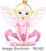 #56162 Royalty-Free (Rf) Clip Art Of A Blond Fairy Princess In Pink Sitting On The Ground