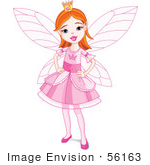 #56163 Royalty-Free (Rf) Clip Art Of A Pretty Red Haired Fairy Princess Girl In A Pink Dress