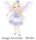 #56164 Royalty-Free (Rf) Clip Art Of A Pretty Blond Fairy Princess Girl In A Purple Dress