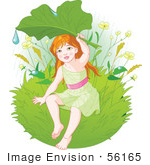 #56165 Royalty-Free (Rf) Clip Art Of A Green Fairy Holding Up A Leaf To Shield Herself From Rain