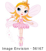 #56167 Royalty-Free (Rf) Clip Art Of A Cute Blond Fairy Princess In A Tutu Holding Her Magic Wand