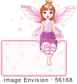 #56168 Royalty-Free (Rf) Clip Art Of A Brunette Fairy Princess With Hearts Sitting On A Blank Sign