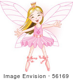 #56169 Clip Art Of A Happy Caucasian Ballerina Fairy Princess Dancing