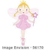 #56170 Royalty-Free (Rf) Clip Art Of A Blond Ballet Fairy Princess Standing On Her Tippy Toes