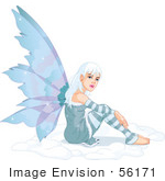 #56171 Royalty-Free (Rf) Clip Art Of A Pretty White Haired Winter Fairy Sitting In Snow by pushkin