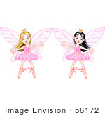 #56172 Clipart Illustration Of Happy Asian And Caucasian Ballerina Fairy Princesses Dancing