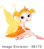#56173 Royalty-Free (Rf) Clip Art Of A Pretty Little Orange Winged Fairy Girl In Ballet Slippers And A Tutu Sitting On The Ground