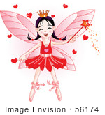 #56174 Royalty-Free (Rf) Clip Art Of A Ballerina Fairy Princess In Red Waving A Magic Wand With Hearts