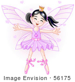 #56175 Clip Art Of A Happy Dancing Asian Ballerina Fairy Princess In Purple